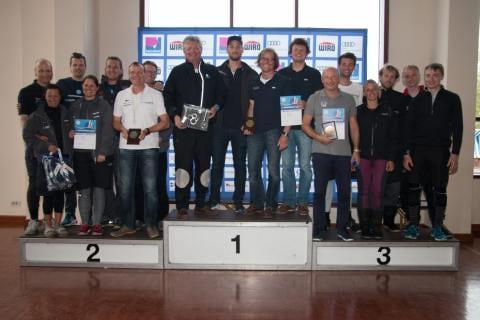 """Siegerehrung der Up & Down Regatta. Bei den ORC 3 gewann die Yacht """"Patent 4"""" vor der """"Solconia"""" und der """"Heat"""""""